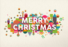 Merry christmas colorful fun geometry environment. Merry christmas vibrant colors poster with fun geometry shapes in environment composition illustration. Ideal Royalty Free Stock Image