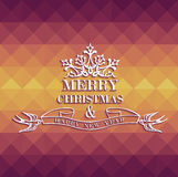 Merry Christmas colorful geometric greeting card. Merry Christmas vintage text label with colors triangle seamless pattern background. EPS10 vector file Stock Illustration