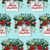 Merry Christmas Seamless Pattern. Merry Christmas colorful greeting seamless pattern. Holiday wallpaper with bag and new year object on blue background for Royalty Free Stock Images