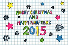 Merry Christmas. Colorful handwritten Merry Christmas and Happy New Year 2015  illustration Royalty Free Stock Images