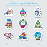 Merry Christmas colorful icon set. Snowman skates mittens wreath boll bell snowball sweets tree on a green background. New Year icon Stock Illustration