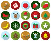 Merry Christmas - Colorful Icons. Vector Easy-To-Use 20 Colorful Merry Christmas Flat Icons With Reindeer, Santa Claus , Snowman Involving In Decoration, Dessert stock illustration