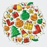 Merry Christmas colorful party. Christmas designs with strong colors and snow on top in circular format Stock Images