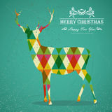 Merry Christmas colorful reindeer shape. Merry Christmas colorful reindeer transparent geometric elements green background. EPS10  with transparency organized Royalty Free Stock Photography