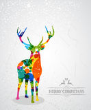Merry Christmas colorful reindeer shape. Royalty Free Stock Images