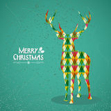Merry Christmas colorful reindeer shape. Trendy Christmas colorful reindeer transparent geometric elements green background. EPS10 vector with transparency Royalty Free Stock Photography
