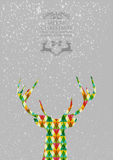Merry Christmas colorful reindeer shape. Trendy Christmas colorful reindeer transparent geometric elements grey background. EPS10 vector with transparency Royalty Free Stock Photo