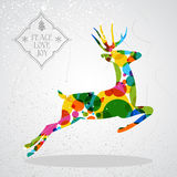 Merry Christmas colorful reindeer shape. Trendy Christmas colorful reindeer transparent geometric elements grunge background. EPS10 vector with transparency Stock Photography