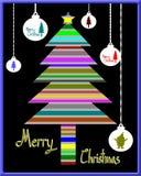 Merry Christmas, Colorful silhouette Christmas tree and Christmas ball Stock Photo