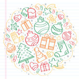 Merry Christmas colorful sketch. Christmas sketch drawings over a notebook Royalty Free Stock Images