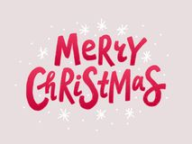 Merry Christmas colorful text. Red Unique xmas design element Vector illustration. royalty free stock photo