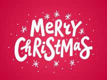 White Merry Christmas colorful text on red background. Vector illustration. Unique xmas design element royalty free stock photography