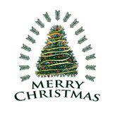 Merry Christmas with colorful tree. Merry Christmas with detailed tree and gold stripes with red circles, illustration design, isolated on  white background Stock Photography