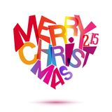 Merry christmas colorful typography at heart shape Royalty Free Stock Photo