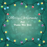 Merry christmas with Colourful Glowing Christmas Lights Royalty Free Stock Images