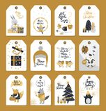 Merry Christmas Colourful Label Badges with Wishes royalty free illustration