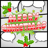 Merry Christmas comic speech bubble in comic frames Royalty Free Stock Images