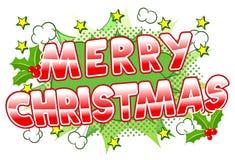 Merry Christmas comic speech bubble Stock Photos