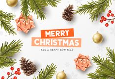 Merry Christmas Composition Background Layout stock photos