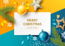 Merry Christmas Composition with fir branches Stock Images