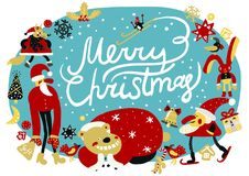 Merry Christmas Composition. With  holiday symbols and decoration, santa and animals, snowfall on blue background vector illustration Royalty Free Stock Photography