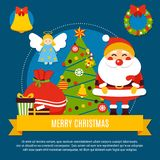 Merry Christmas Composition. With xmas tree, santa, angel, greetings at yellow ribbon on dark background vector illustration Royalty Free Stock Images