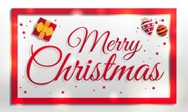 Merry christmas concept banner, cartoon style royalty free illustration