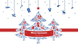 Merry Christmas concept banner, simple style vector illustration