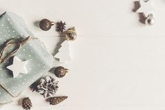 Merry christmas concept, flat lay. stylish presents and gifts wi royalty free stock images