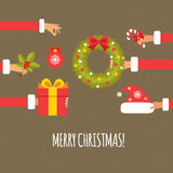 Merry christmas concept in flat style Stock Photos