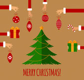 Merry christmas concept in flat style Royalty Free Stock Photo