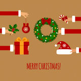Merry christmas concept in flat style. Royalty Free Stock Images