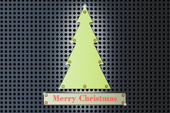Merry Christmas concept with green metallic Christmas Tree, 3D r. Merry Christmas concept with green metallic Christmas Tree Royalty Free Stock Photography