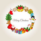Merry Christmas Concept with Holidays Attributes vector illustration