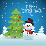 Merry Christmas concept with snowman and pine tree icon.. Merry Christmas represented by snowman and pine tree cartoon over blue and flat background Stock Images