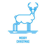 Merry Christmas concept with trees in outline style. Merry Christmas icon concept with deer in outline style. New year design for banner web graphics wallpaper Stock Photos