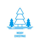 Merry Christmas concept with trees in outline style. Merry Christmas icon concept with trees in outline style. New year design for banner web graphics wallpaper Stock Image