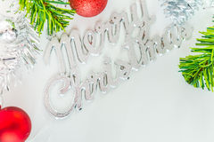 Merry christmas concept on white background. Royalty Free Stock Photo
