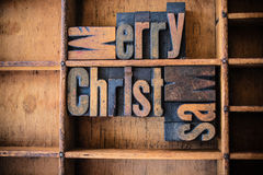 Merry Christmas Concept Wooden Letterpress Theme Stock Photo