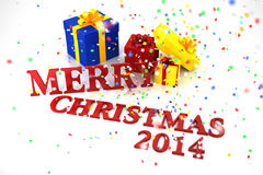 Merry Christmas 2014. With confetti and Gift box Royalty Free Stock Photography