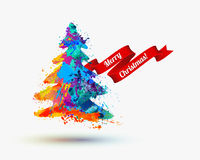 Merry Christmas congratulation card. Vector Watercolor illustration. Stock Image