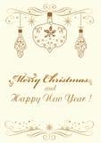 Merry Christmas congratulation  illustration Royalty Free Stock Photo