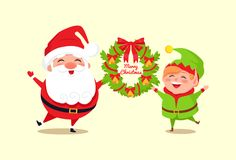Merry Christmas Congratulation from Santa and Elf Stock Image