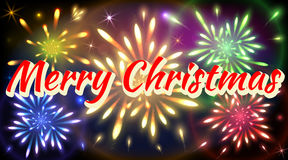 Merry Christmas congratulatory banner with colorful fireworks Stock Photos