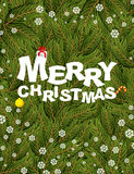 Merry Christmas. Congratulatory postcard/poster for  winter holi Royalty Free Stock Images