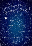 Merry Christmas constellation with snow Royalty Free Stock Images