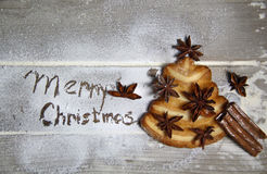 Merry Christmas and cookie fir-tree Stock Image