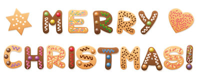 Merry Christmas Cookies Gingerbread. MERRY CHRISTMAS - written with christmas cookies and gingerbread cookies stock illustration