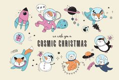 Cosmic Xmas illustrations,  with Santa, Penguin, Deer, Fox and a space ship Stock Images