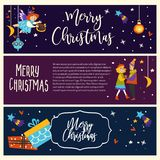 Merry Christmas couple man and woman dancing together vector pair in love angelic girl with harp flying above people in vector illustration